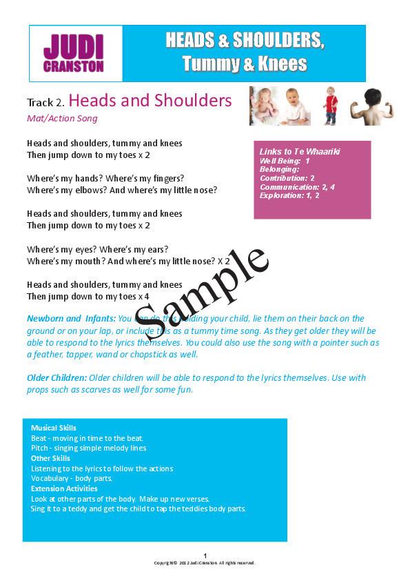 Heads Shoulders Tummy Knees Digital Teaching Manual Kindyrock